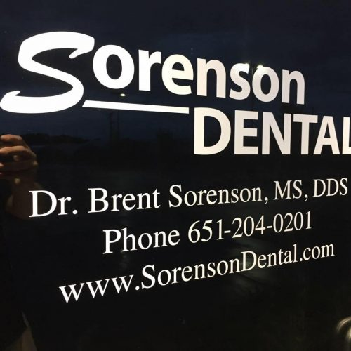 Signage on the front door at Sorenson Dental Hugo MN